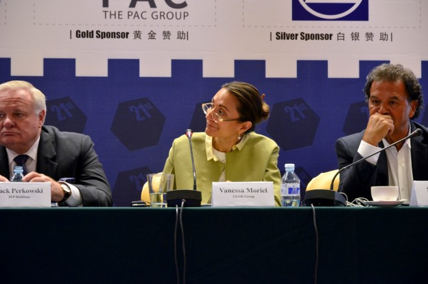 Vanessa Moriel, LIASE Group Managing Director Asia (center) answers a question during a panel at the CBU/CAR 21st Annual International Conference in Beijing. She is joined by Jack Perkowski, Managing Partner, JFP Holdings (left) and Shah Firoozi, Founder and CEO, PAC Group (right).