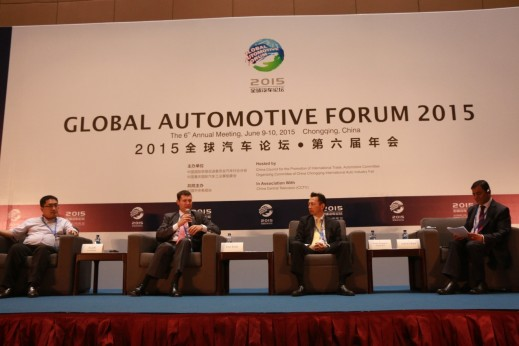 From left to right: Li Gaopeng, Deputy Director, Department of Technology, Zhengzhou Yutong Bus Co.; Peter Rankl, Senior VP Powertrain China & Korea at Continental; Yusuke Hasegawa, Senior Chief Engineer & General Manager, Technology Development Division 5, Honda R&D Co., Ltd.; Ashvin Chotai Managing Director, Intelligence Automotive Asia; talking at a brainstorming session on New Energy Vehicles, Impact of Lower Oil Prices.