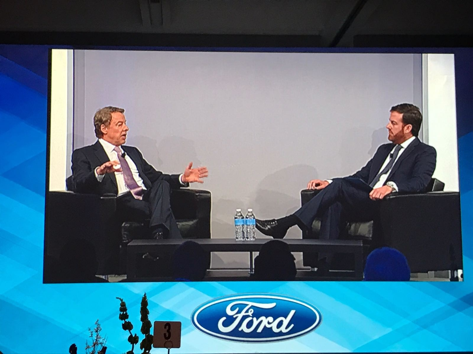 Autonews Dinner in Detroit. William Clay Ford Jr., Executive Chairman of Ford and KC Crain, Executive Vice President of Ford Motor Company holding a fireside chat.