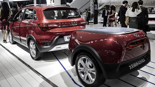 BAIC Motor presented their EX200 electric SUV, one of many new fuel-efficient SUVs which were prominently displayed at the Beijing auto show this year.