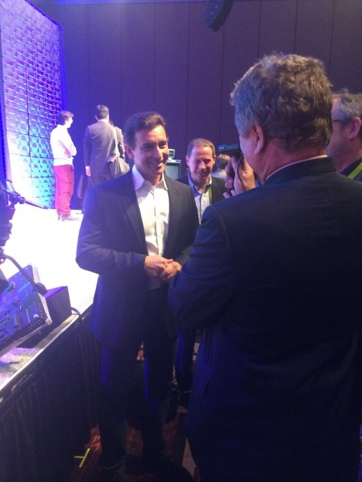 Ford Motor Company President and CEO Mark Fields talking with industry people at the 2016 edition of CES after finishing his keynote press conference at CES.