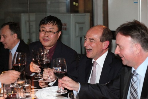 Dinner Guests celebrating together. Left to right: Global Automotive Forum, Secretary General, James Chai; Röechling Automotive, Chief Executive Officer Erwin Doll; and, Newmark, Business Unit Director, Business Development and Commercial Asia, Jorge Rada.