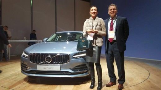 Vanessa Moriel, Managing Director Asia, Liase Group and John Bukowicz, Managing Director for the Americas, LIASE Group stand next to Volvo's new S90.