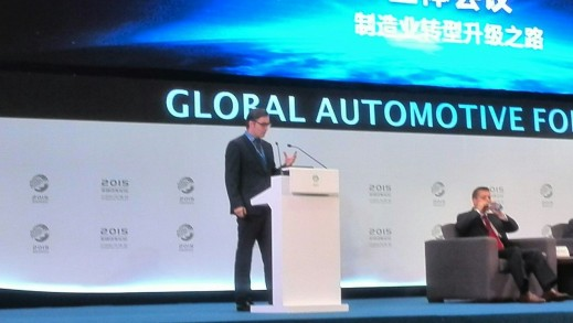 Sebastien Bersch, Managing Director, Siemens IBS China, talking at the Global Automotive Forum in Chongqing.