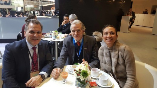 John Bukowicz, Managing Director for the Americas, LIASE Group, and Vanessa Moriel, Managing Director Asia, LIASE Group, pose with Thomas Heringer from Automobilwoche.