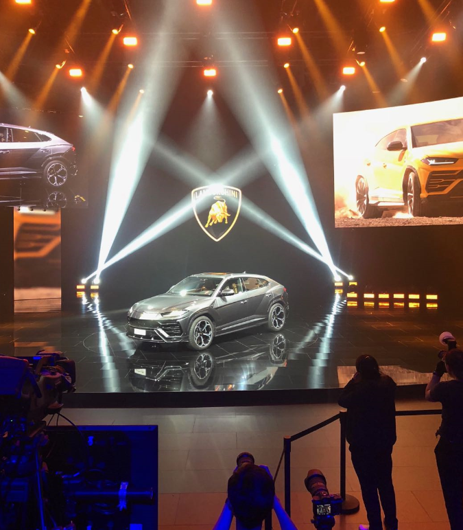 Lamborghini's new SUV model was showcased.