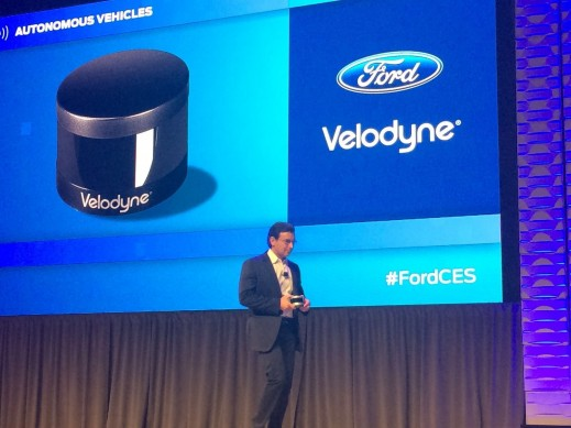 Ford CEO Mark Fields talking about the new Velodyne Puck sensor during his press conference in Las Vegas. Velodyne Lidar devices help autonomous cars scan the road ahead and plot a safe course.