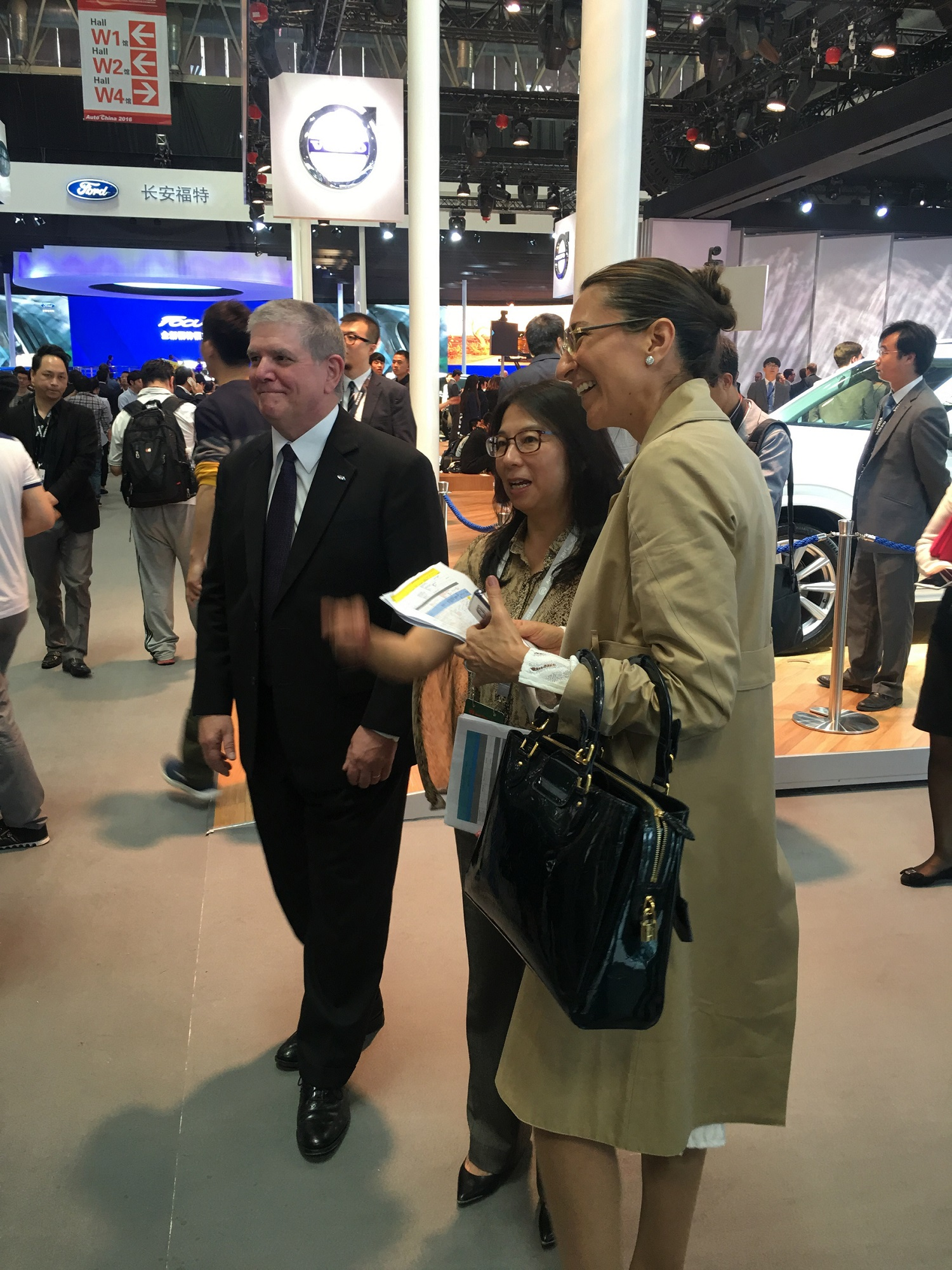 Vanessa Moriel (front) poses for a picture with Ford Asia President, David L. Schoch (back).