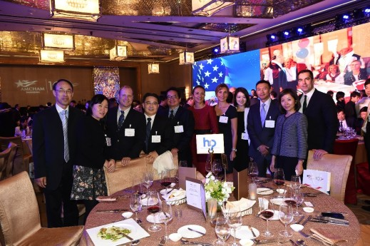 The HCP team and friends for a picture at the AmCham 100th year anniversary gala.