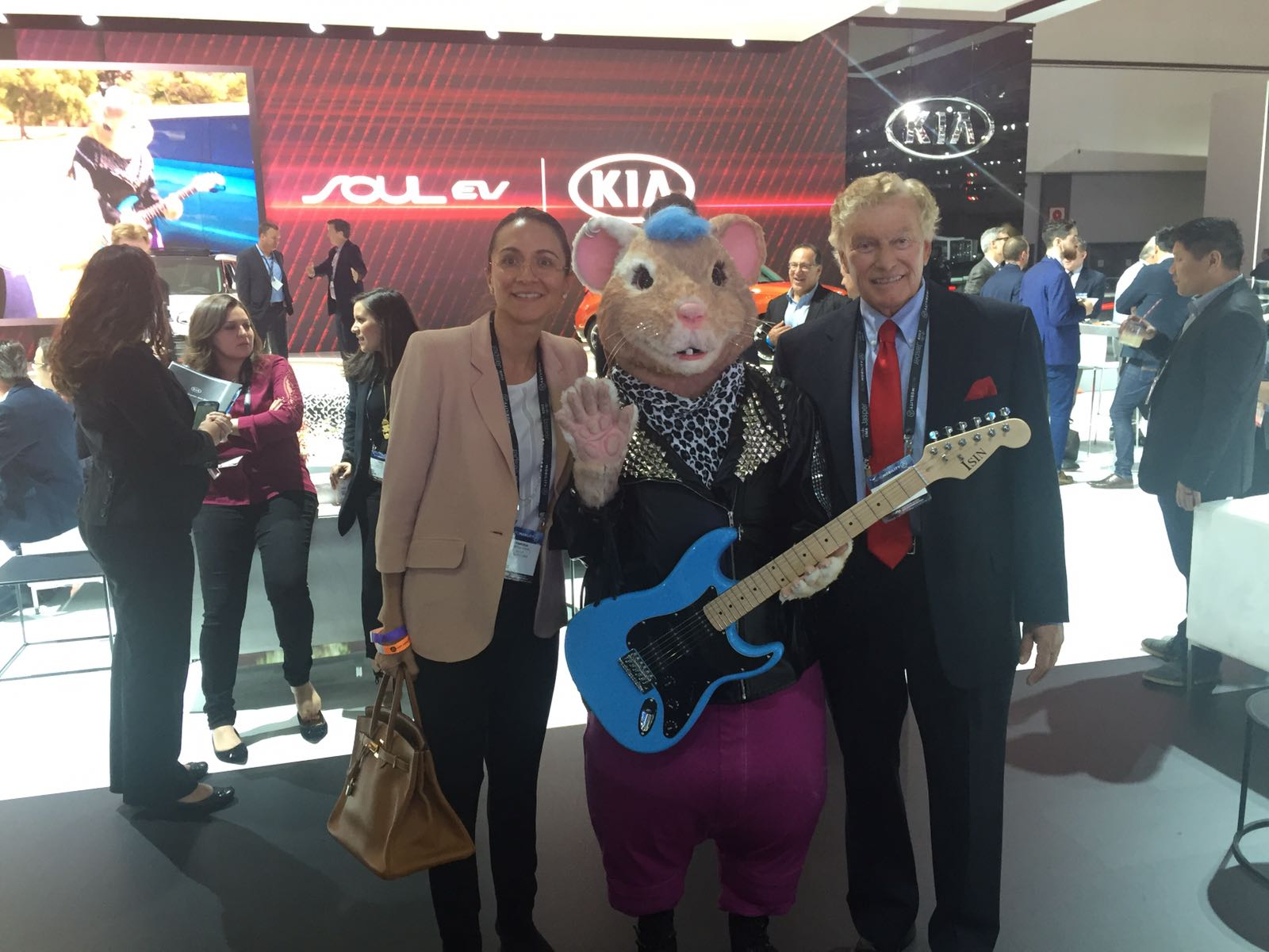 LIASE Group Managing Director Asia Vanessa Moriel, and Non-Executive Board Member Vic H. Doolan take a picture with one of the KIA hamsters featured in KIA ads in recent years.
