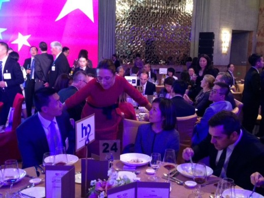 HCP Managing Director Asia Vanessa Moriel talking with HCP guests at the AmCham 100th year anniversary event in Shanghai.