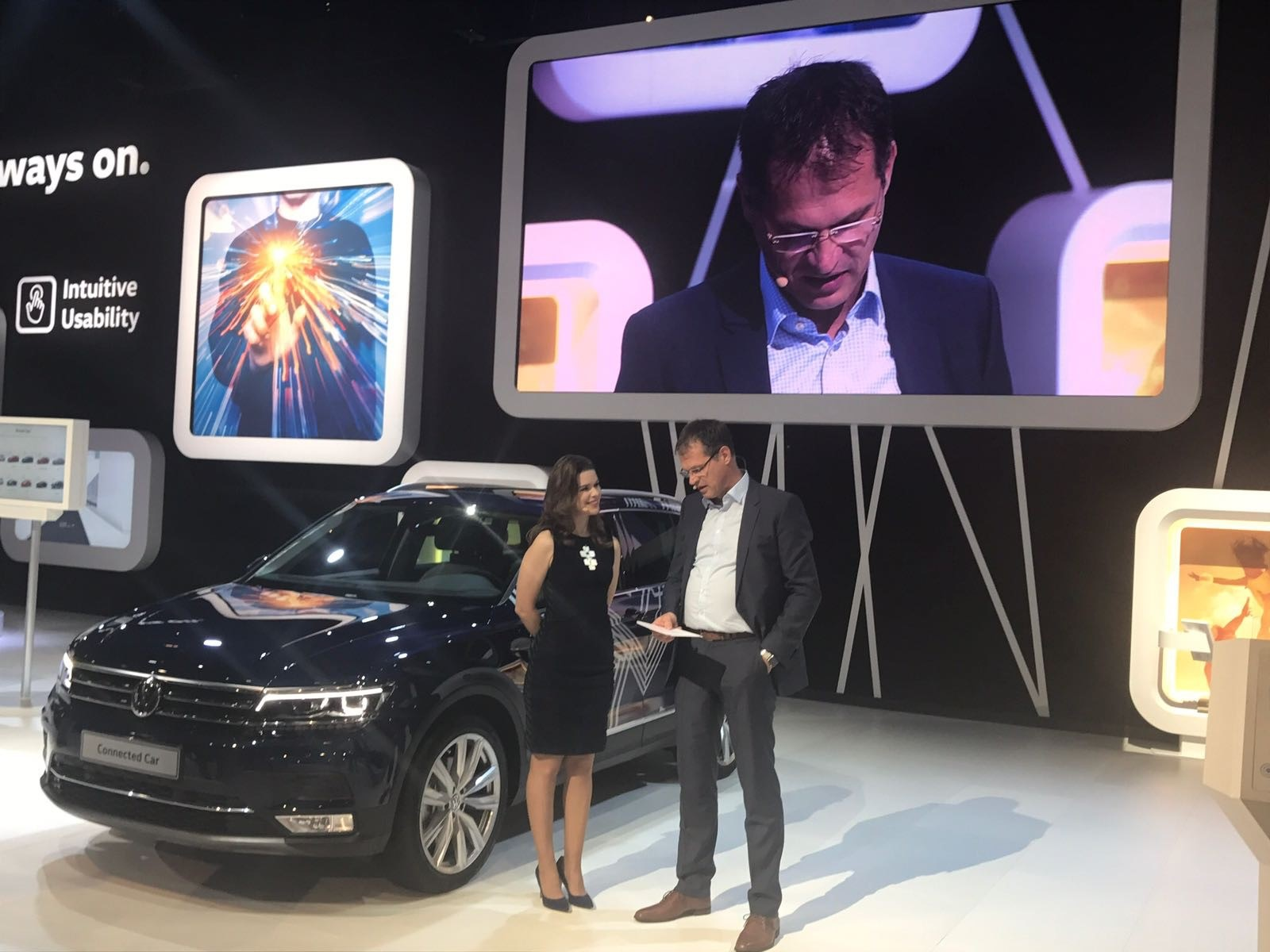 Dr Volkmar Tanneberger, Head of Electrical and Electronic Development at Volkswagen duing Volkswagen's press conference at CES 2017. Volkswagen focused it's presentation on connectivity developments in its cars.
