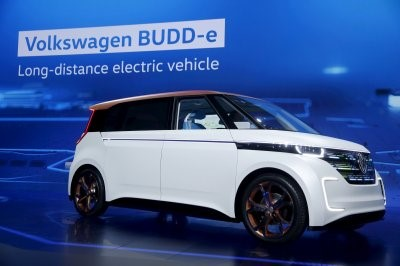 The Volkswagen BUDD-e Concept is an all-electric concept minivan inspired by the 1970s VW camper vans.