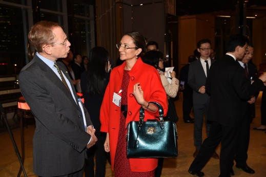 AmCham President Kenneth Jarrett (left) talking with HCP Managing Director Asia Vanessa Moriel at the entrance of the AmCham 100th year anniversary gala in Shanghai.