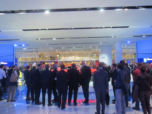 Large crowds of company executives, journalists and industry insiders gathered to see the newly unveiled cars.