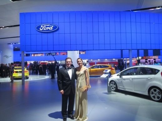 John and Vanessa at the Ford booth surrounded by newly launched vehicles.