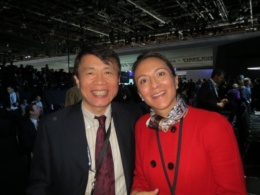 Magnetti Marelli CEO Asia, Jack Chen, with Vanessa Moriel, HCP MD Asia-Pacific and LIASE Board Member, at the Chrysler press conference during the Detroit Auto Show.