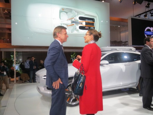 Volvo CEO, Hakan Samuelsson, discussing with HCP MD Asia-Pacific, Vanessa Moriel, after Volvo's press conference at the Detroit Auto Show.